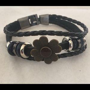 Jewelry - Black unisex braided leather bracelet